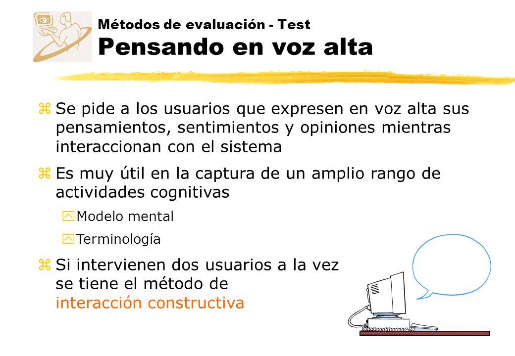 Métodos de evaluación - Test Pensando en voz alta
