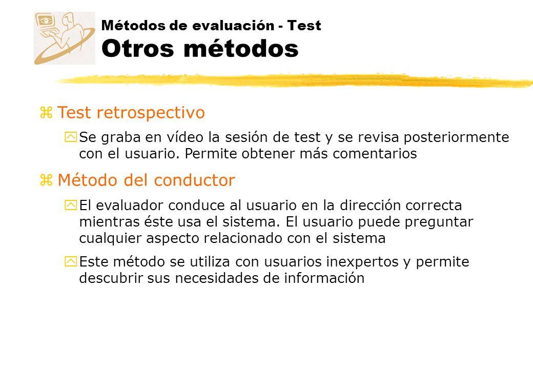 Métodos de evaluación - Test Otros métodos