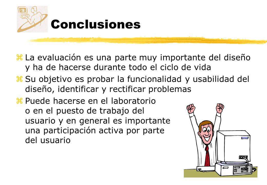 Conclusiones La evaluación es una parte muy importante del diseño y ha de hacerse durante todo el ciclo de vida.