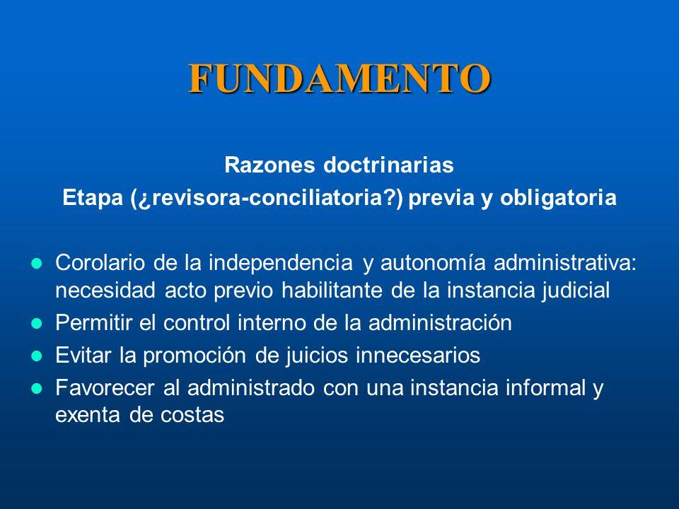 Etapa (¿revisora-conciliatoria ) previa y obligatoria