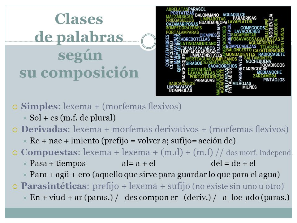 Clases de palabras según su composición