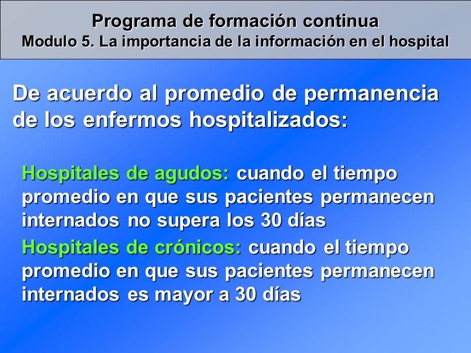 De acuerdo al promedio de permanencia de los enfermos hospitalizados: