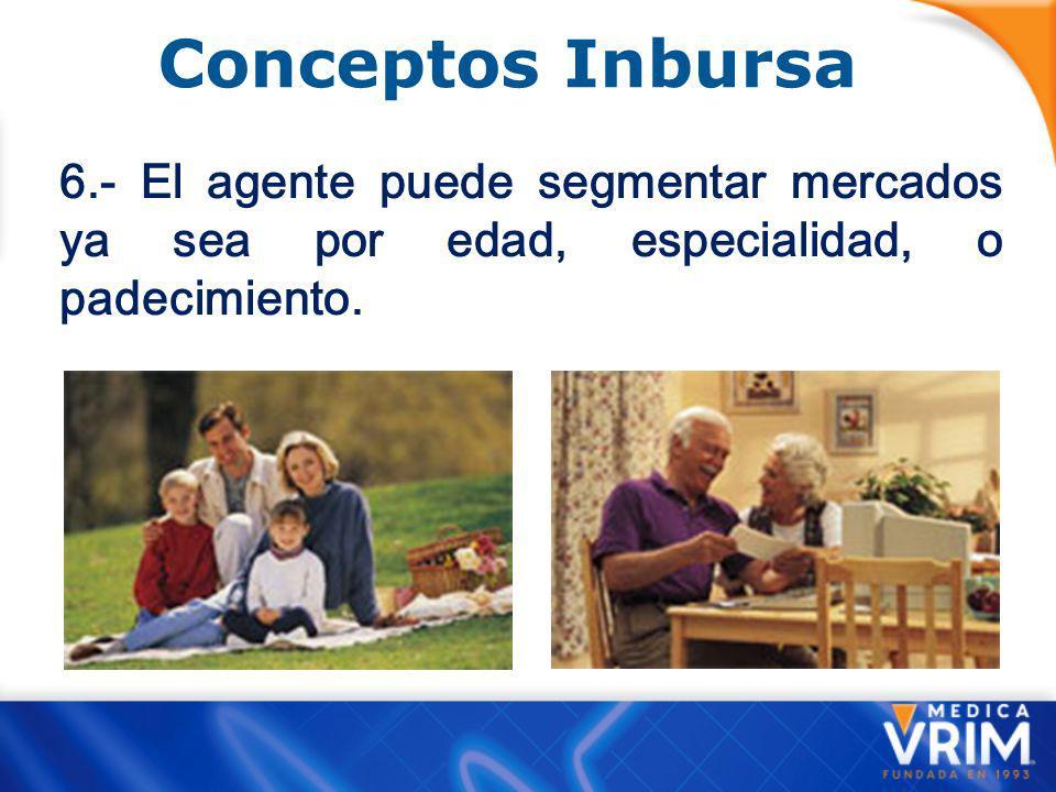 Conceptos Inbursa 6.- El agente puede segmentar mercados ya sea por edad, especialidad, o padecimiento.