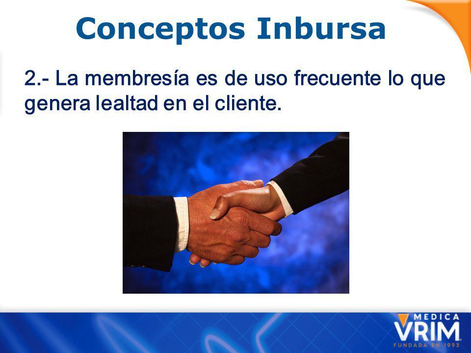 Conceptos Inbursa 2.- La membresía es de uso frecuente lo que genera lealtad en el cliente.