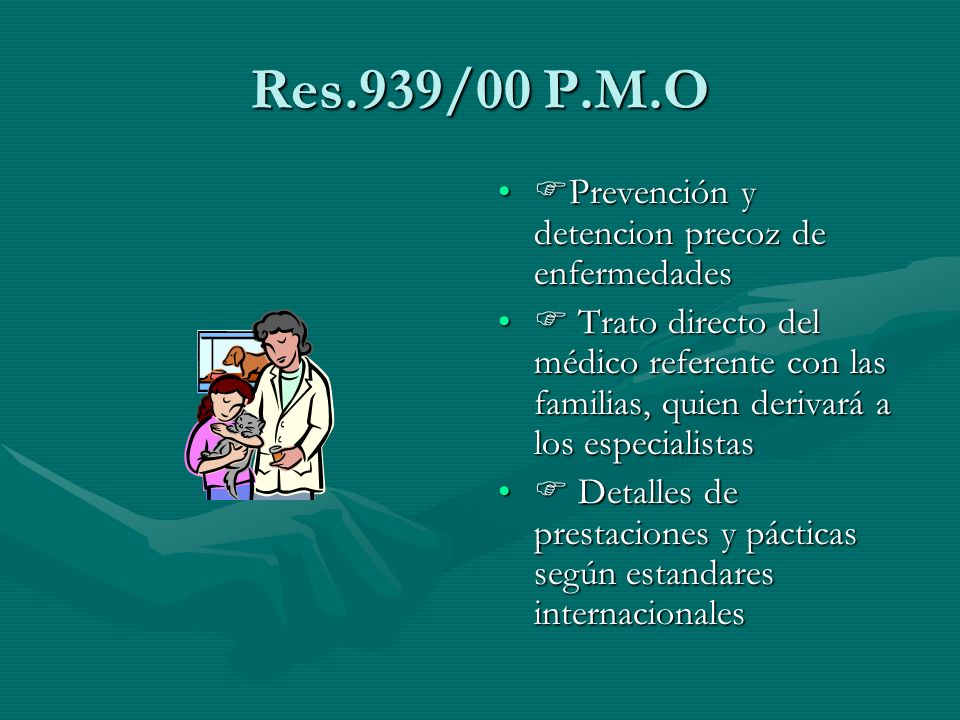 Res.939/00 P.M.O Prevención y detencion precoz de enfermedades