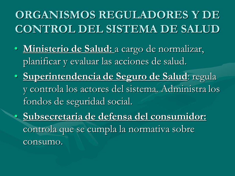 ORGANISMOS REGULADORES Y DE CONTROL DEL SISTEMA DE SALUD