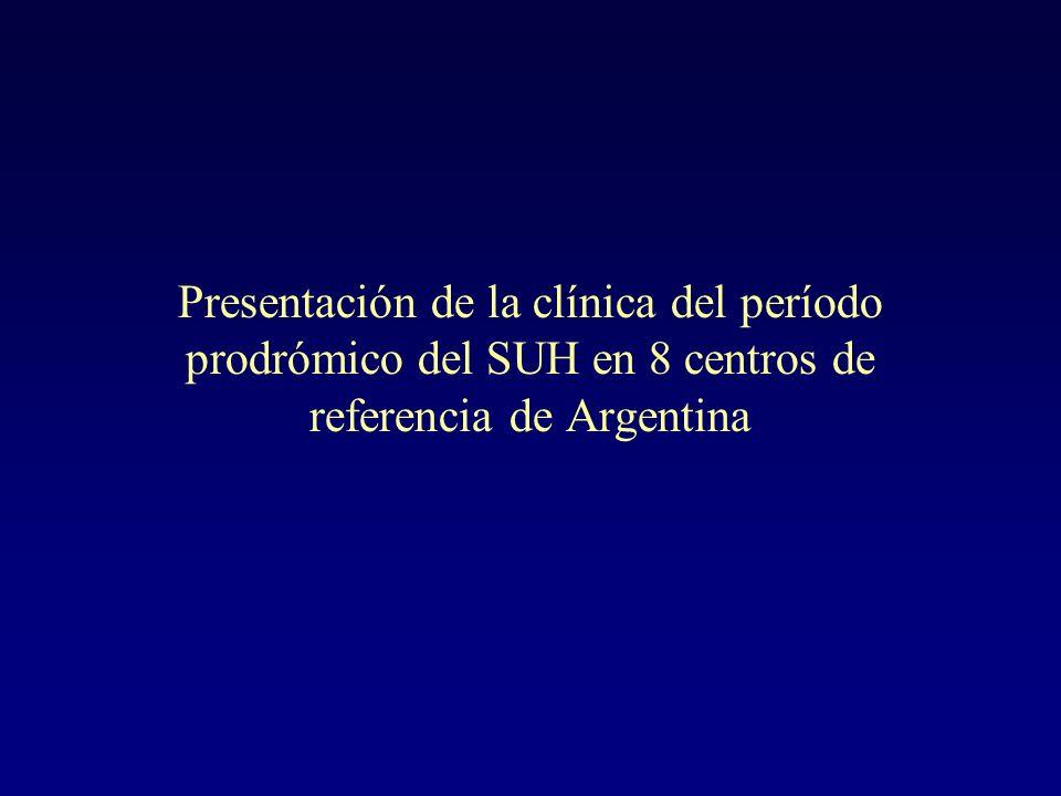 Presentación de la clínica del período prodrómico del SUH en 8 centros de referencia de Argentina