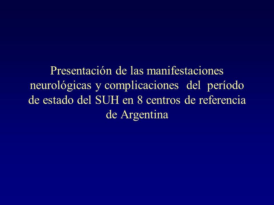 Presentación de las manifestaciones neurológicas y complicaciones del período de estado del SUH en 8 centros de referencia de Argentina