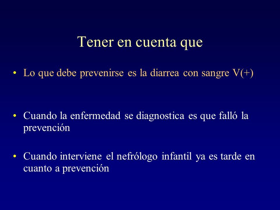 Tener en cuenta queLo que debe prevenirse es la diarrea con sangre V(+) Cuando la enfermedad se diagnostica es que falló la prevención.