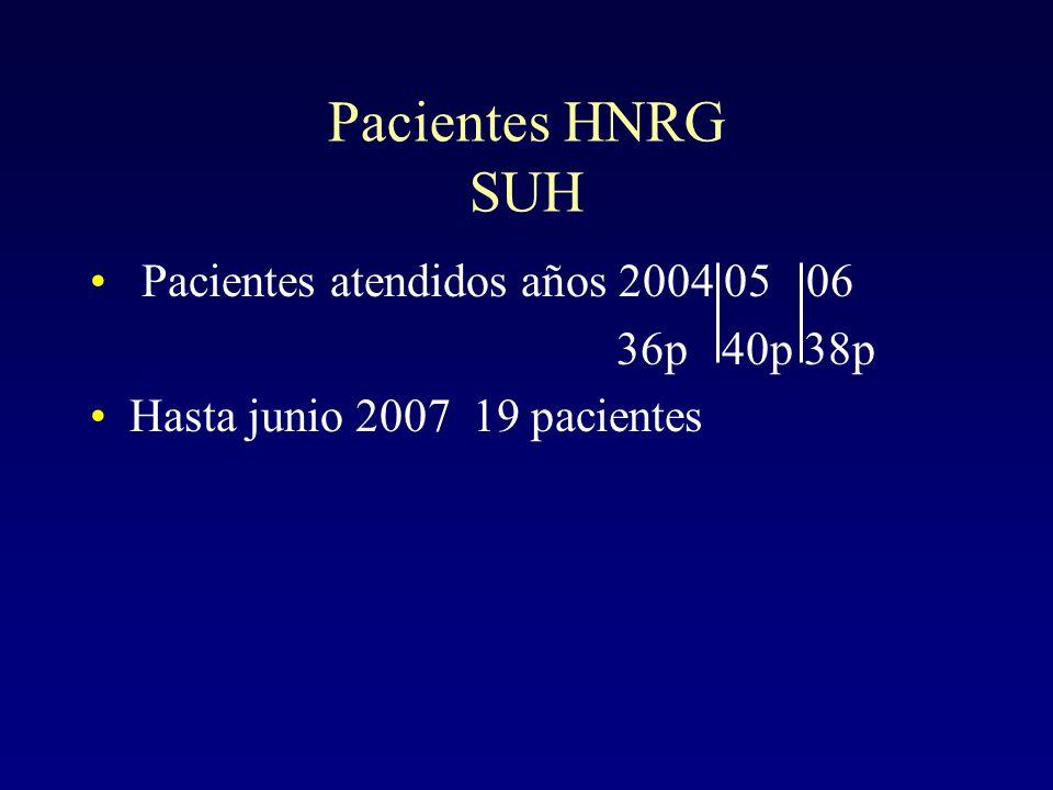 Pacientes HNRG SUH Pacientes atendidos años 2004 05 06 36p 40p 38p
