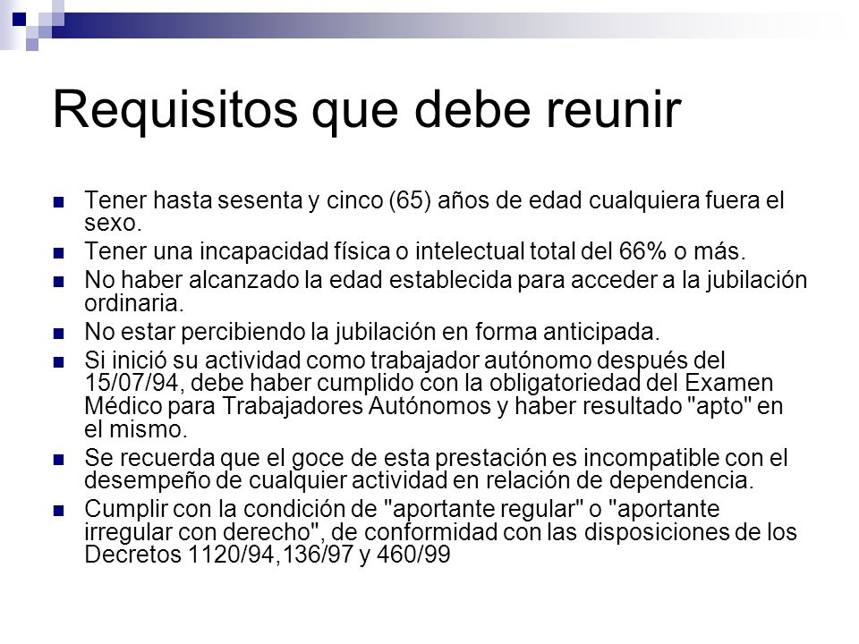 Requisitos que debe reunir