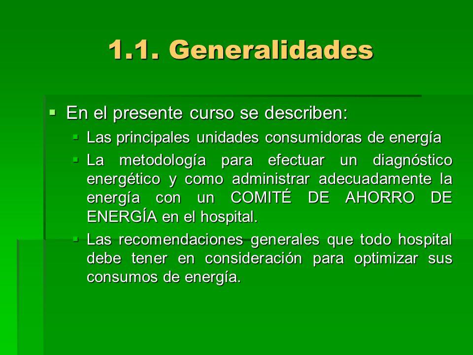 1.1. Generalidades En el presente curso se describen:
