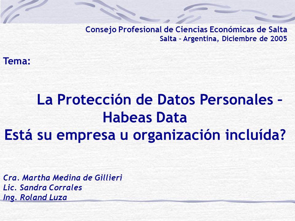 La Protección de Datos Personales – Habeas Data