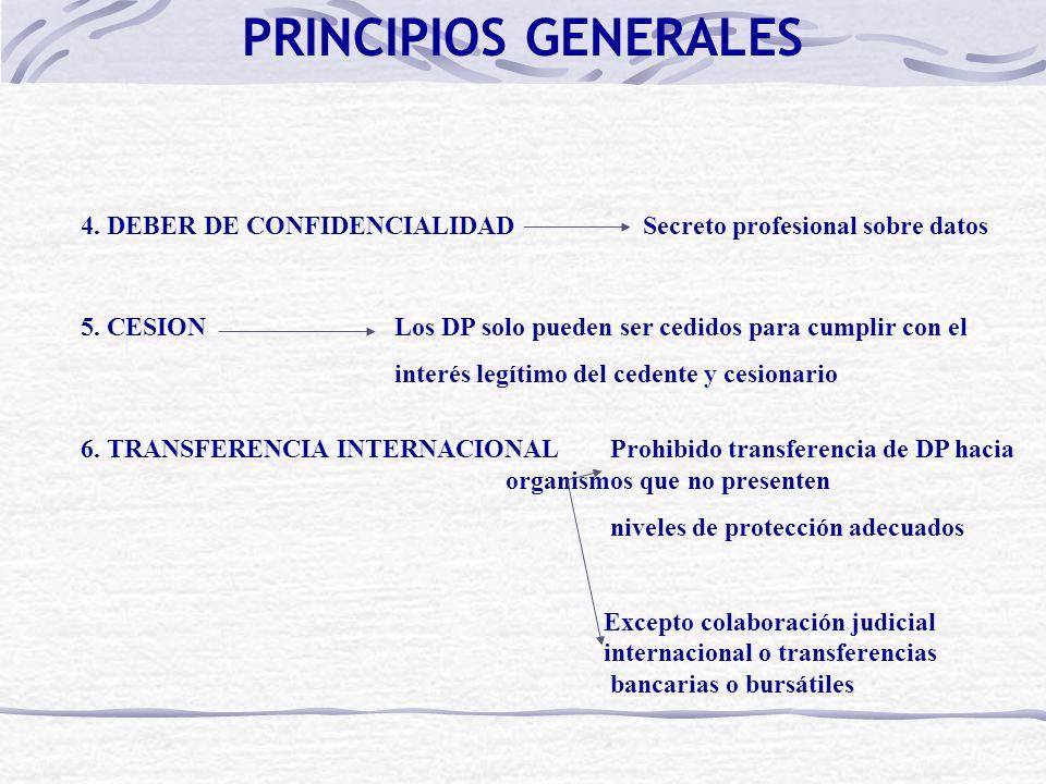 PRINCIPIOS GENERALES 4. DEBER DE CONFIDENCIALIDAD Secreto profesional sobre datos.