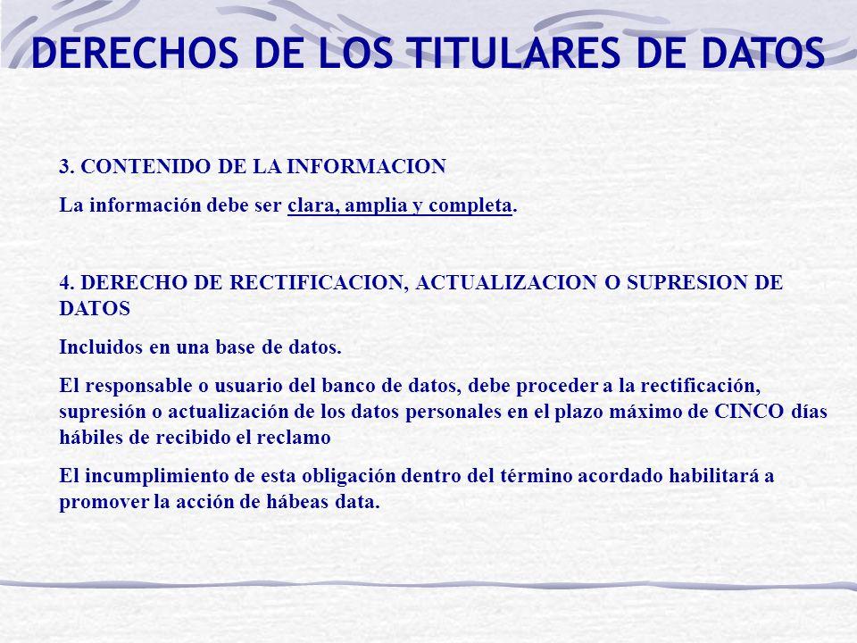 DERECHOS DE LOS TITULARES DE DATOS