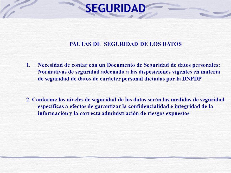 PAUTAS DE SEGURIDAD DE LOS DATOS