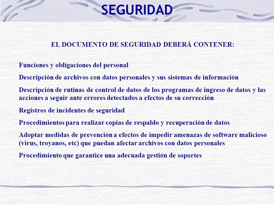 EL DOCUMENTO DE SEGURIDAD DEBERÁ CONTENER: