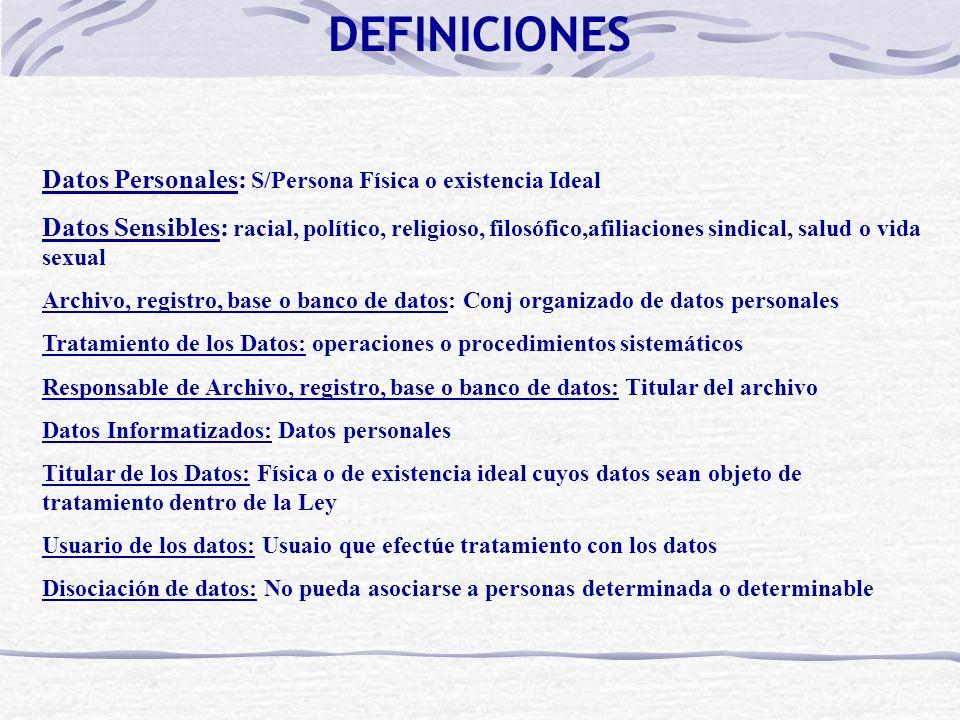 DEFINICIONES Datos Personales: S/Persona Física o existencia Ideal