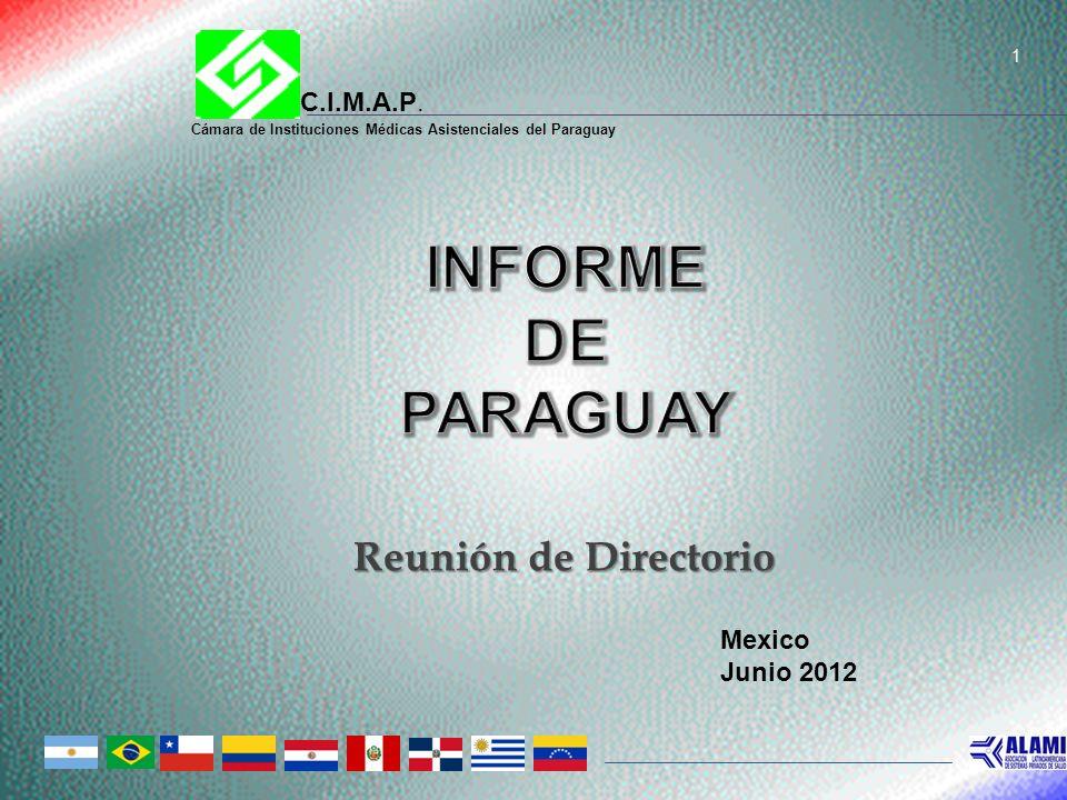 INFORME DE PARAGUAY Reunión de Directorio C.I.M.A.P. Mexico Junio 2012