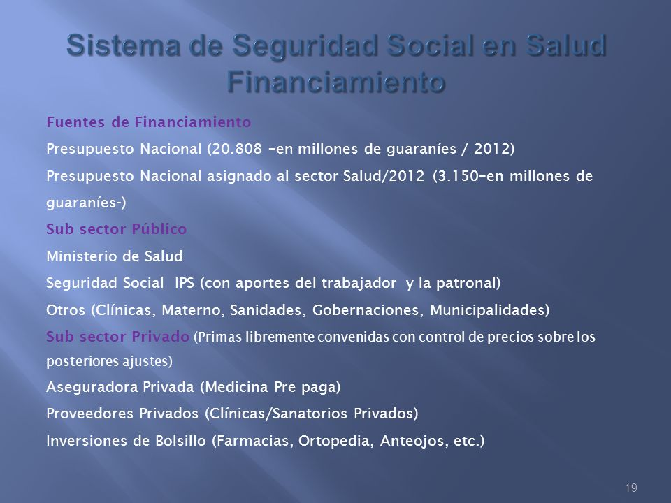 Sistema de Seguridad Social en Salud Financiamiento