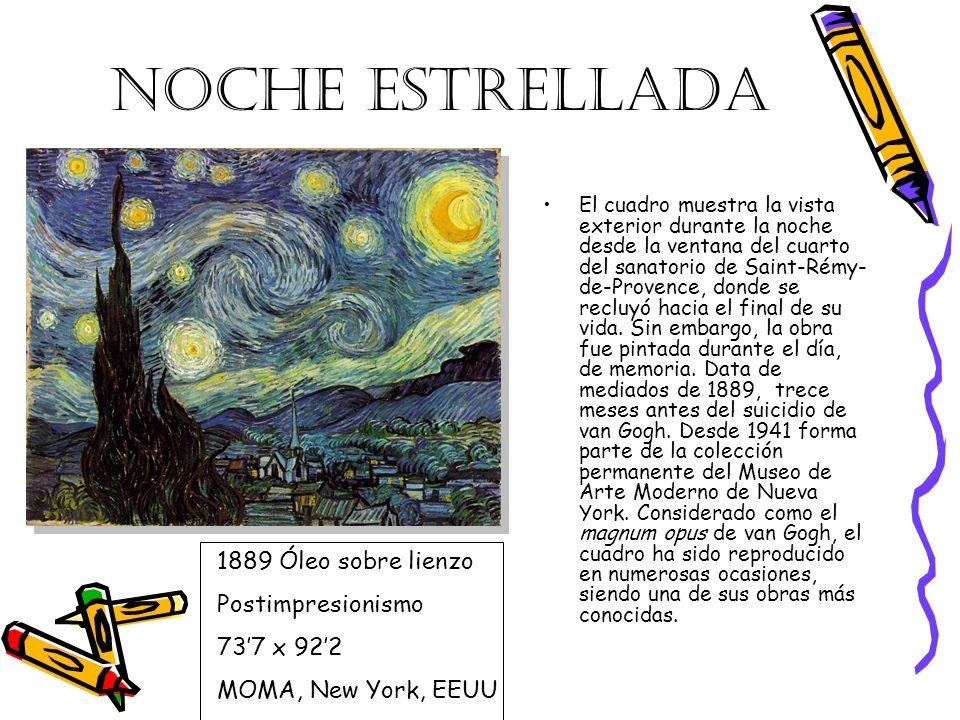 NOCHE ESTRELLADA 1889 Óleo sobre lienzo Postimpresionismo 73'7 x 92'2