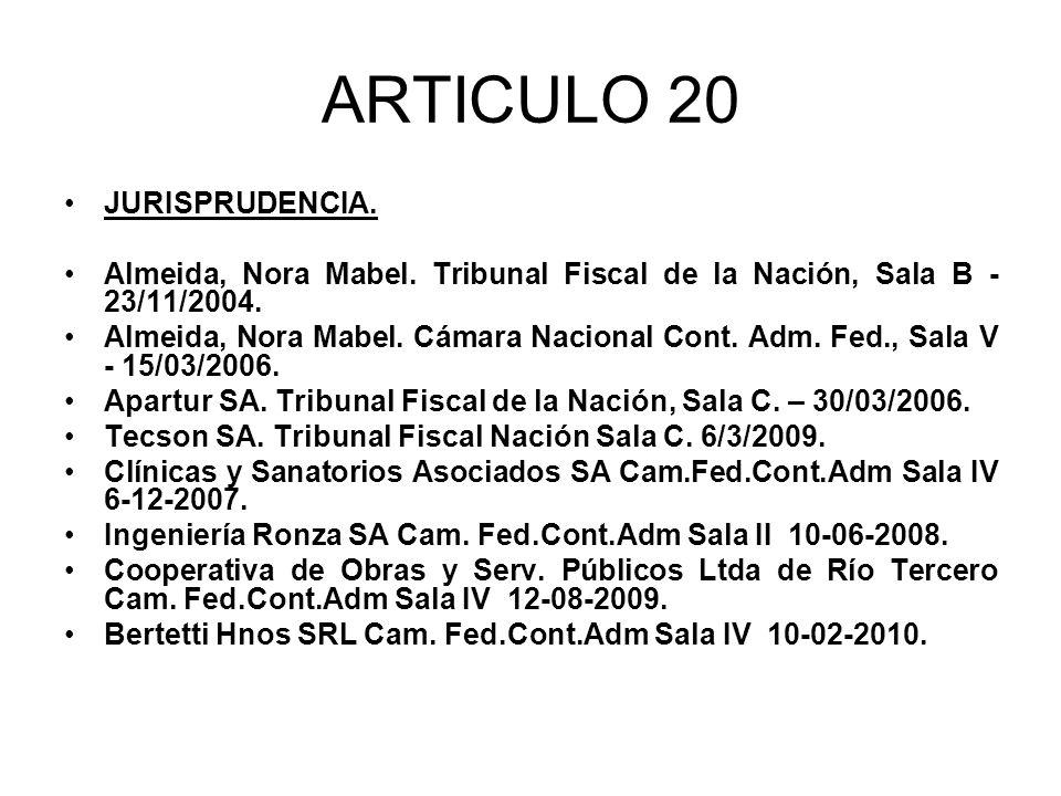 ARTICULO 20 JURISPRUDENCIA.