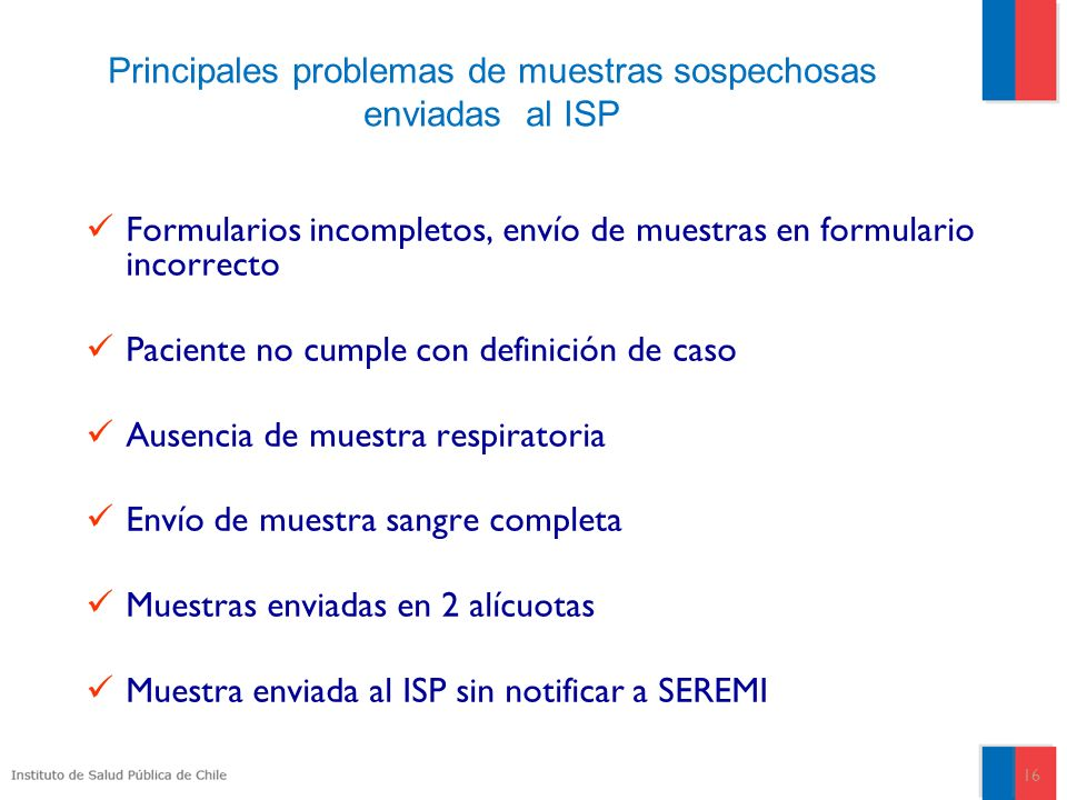 Principales problemas de muestras sospechosas enviadas al ISP
