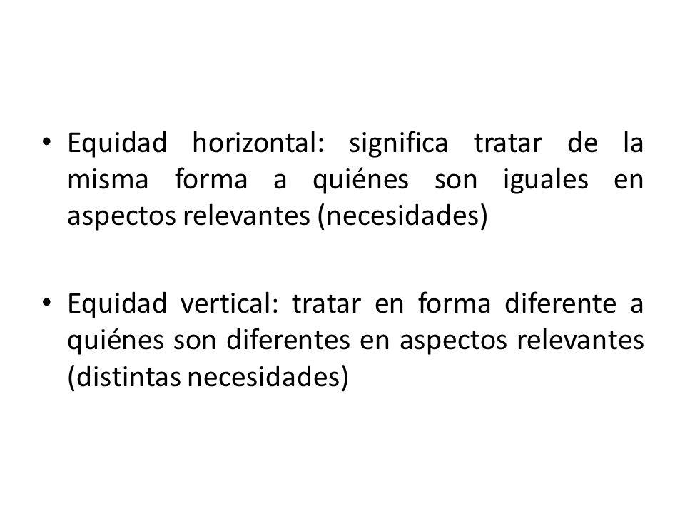 Equidad horizontal: significa tratar de la misma forma a quiénes son iguales en aspectos relevantes (necesidades)