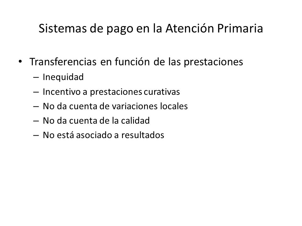 Sistemas de pago en la Atención Primaria