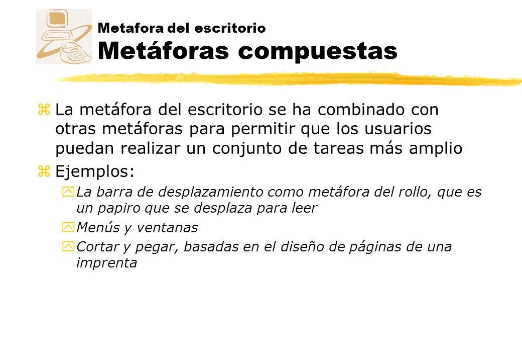 Metafora del escritorio Metáforas compuestas