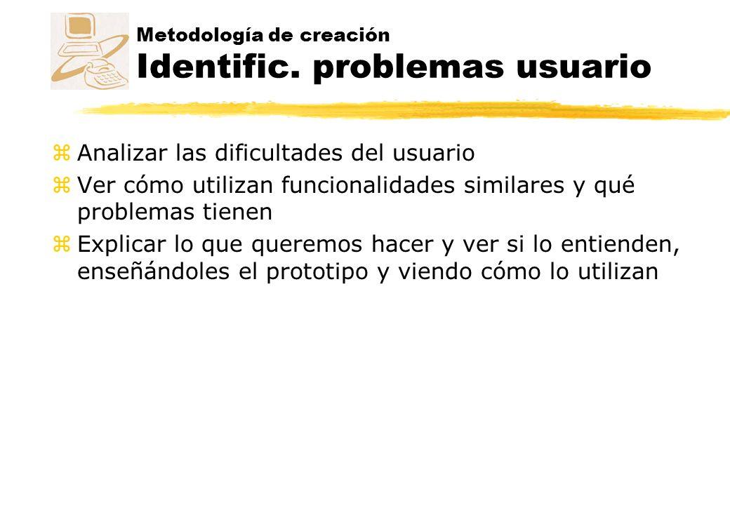 Metodología de creación Identific. problemas usuario