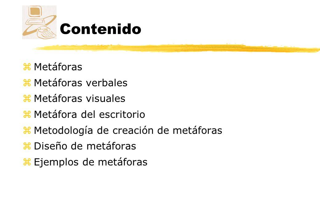 Contenido Metáforas Metáforas verbales Metáforas visuales