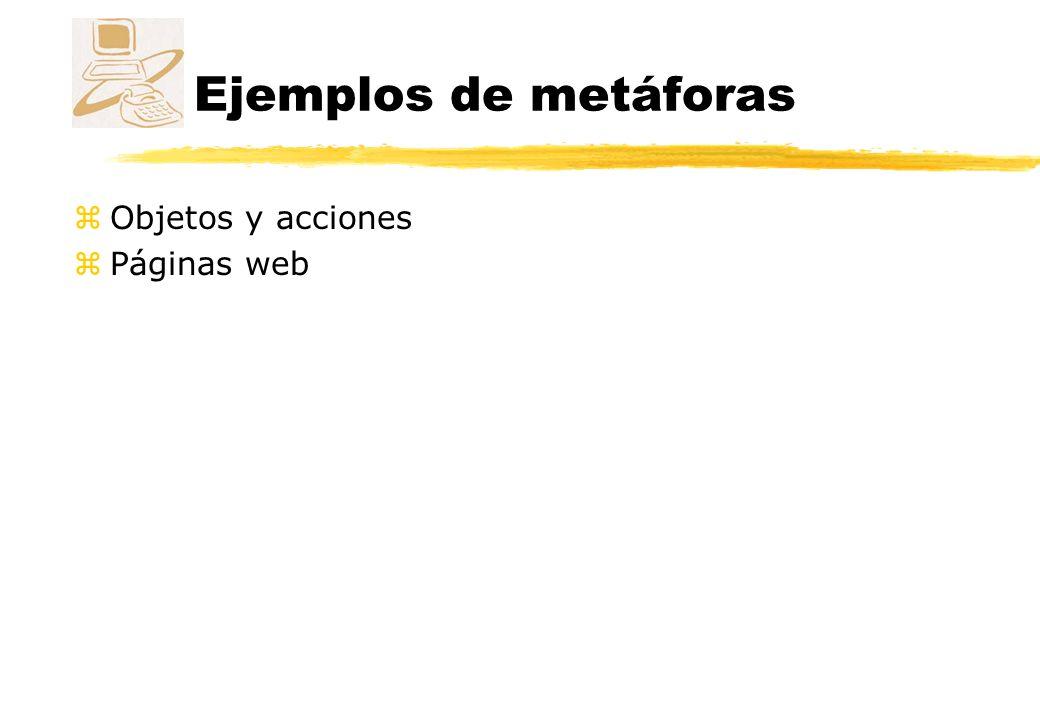 Ejemplos de metáforas Objetos y acciones Páginas web