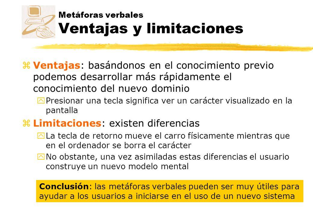 Metáforas verbales Ventajas y limitaciones