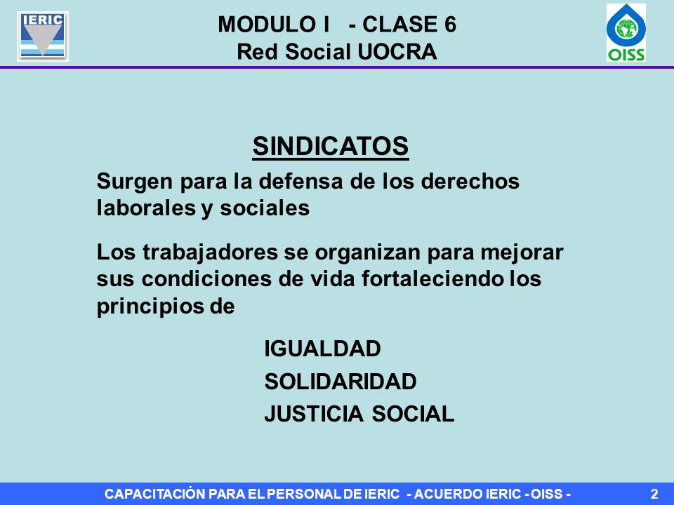 SINDICATOS MODULO I - CLASE 6 Red Social UOCRA