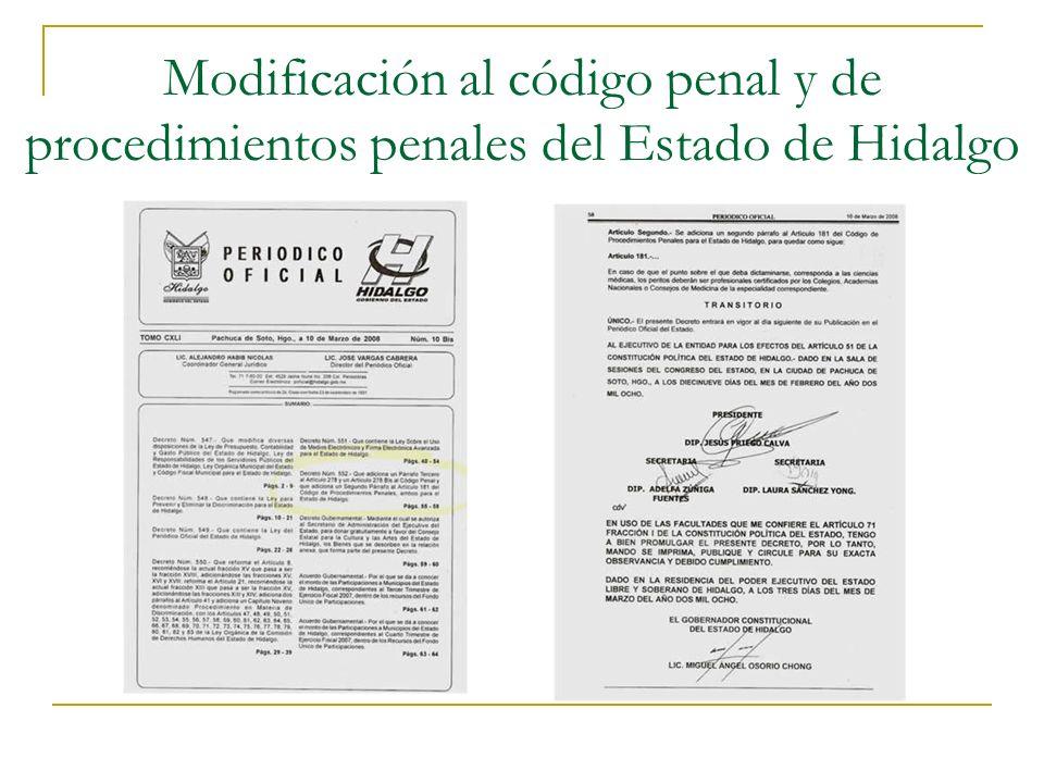 Modificación al código penal y de procedimientos penales del Estado de Hidalgo