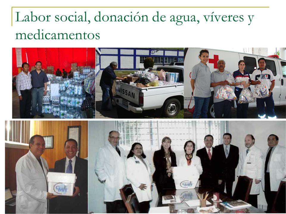 Labor social, donación de agua, víveres y medicamentos