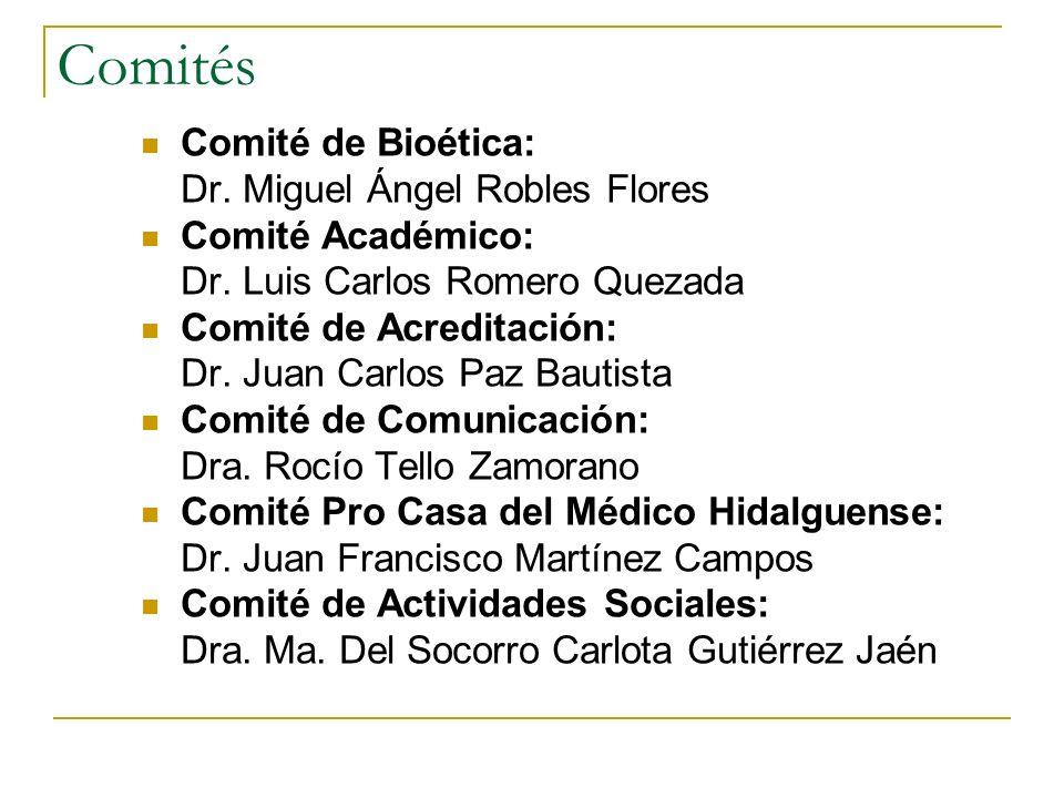 Comités Comité de Bioética: Dr. Miguel Ángel Robles Flores