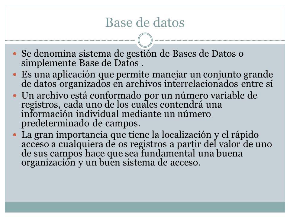 Base de datos Se denomina sistema de gestión de Bases de Datos o simplemente Base de Datos .
