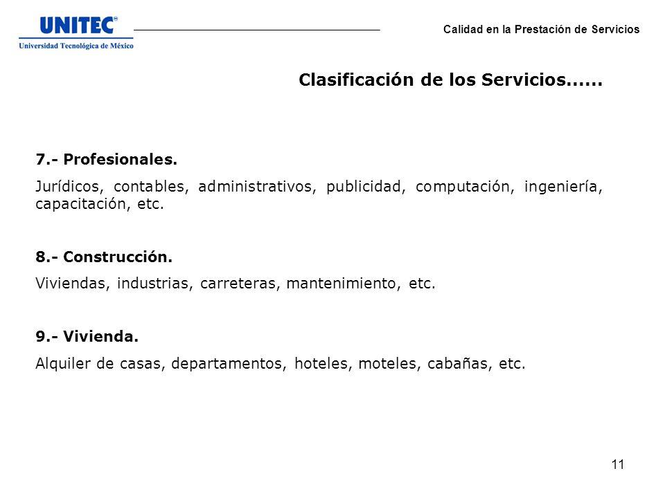 Clasificación de los Servicios......