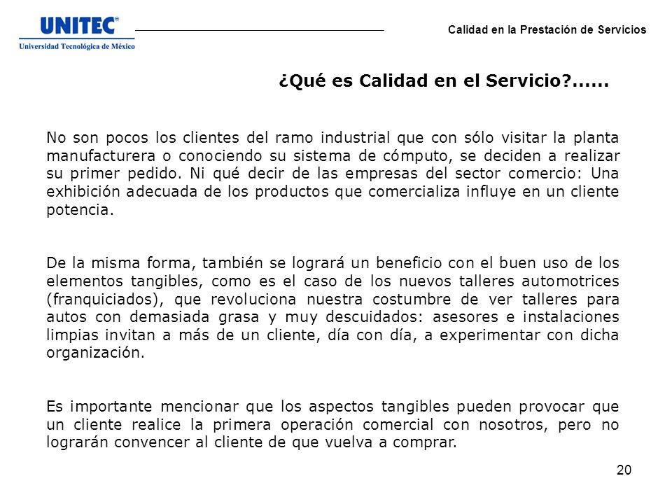¿Qué es Calidad en el Servicio ......