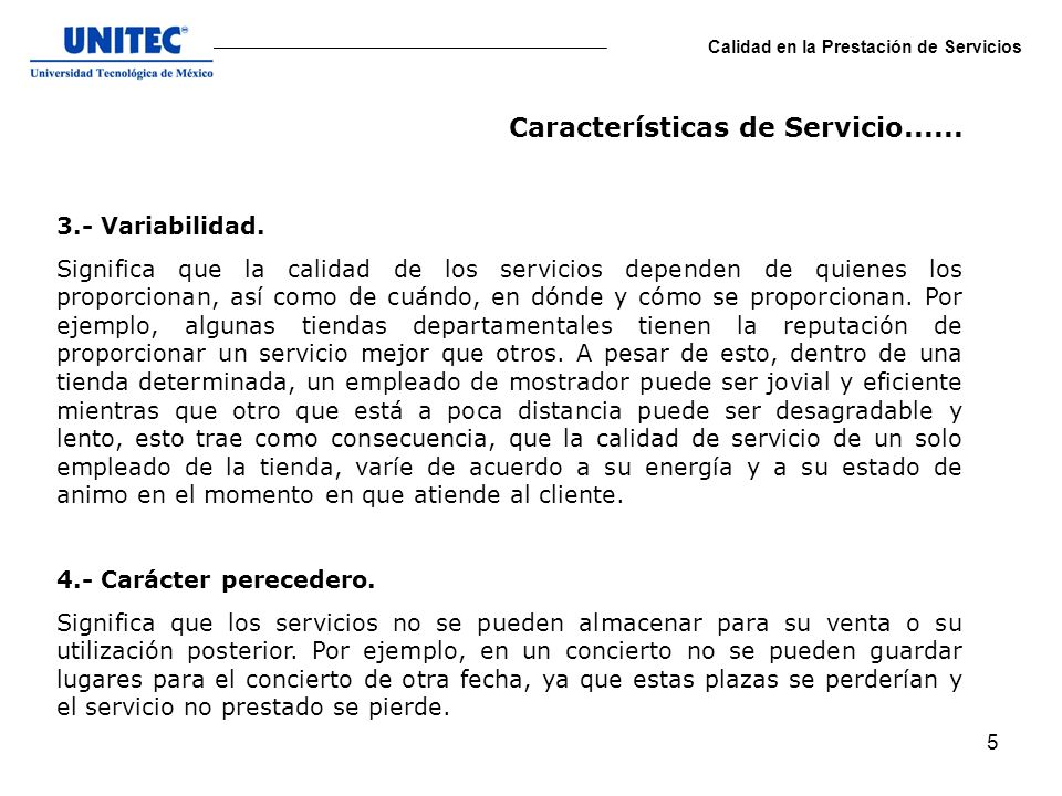 Características de Servicio......
