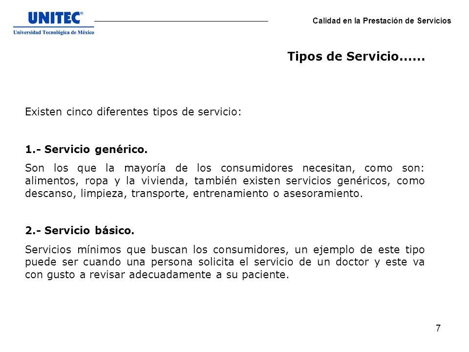 Tipos de Servicio...... Existen cinco diferentes tipos de servicio: