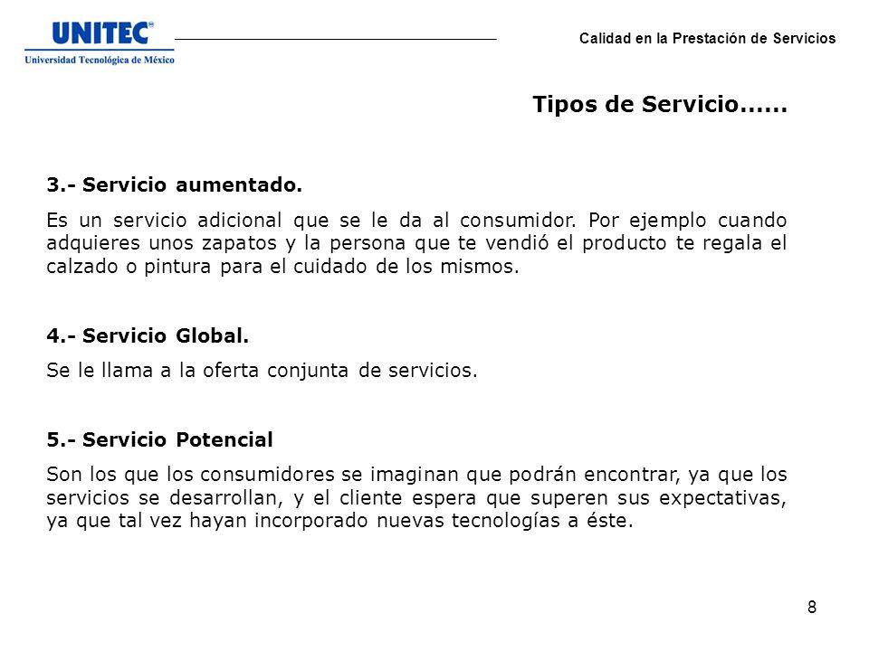 Tipos de Servicio...... 3.- Servicio aumentado.