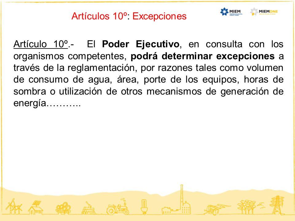 Artículos 10º: Excepciones