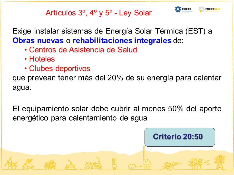Artículos 3º, 4º y 5º - Ley Solar
