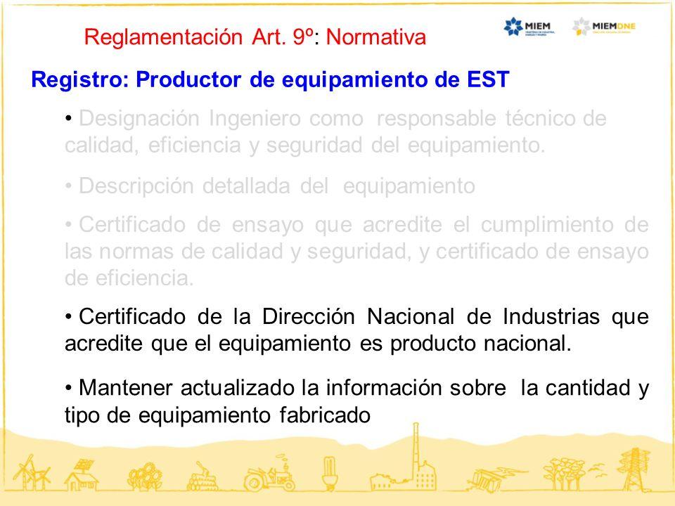 Reglamentación Art. 9º: Normativa