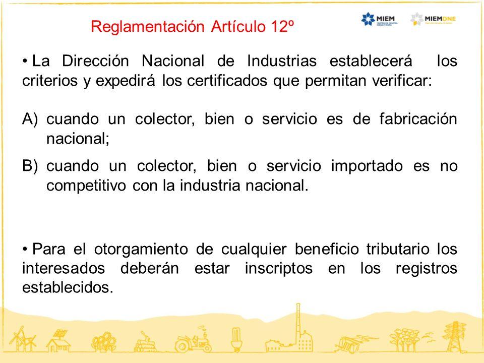 Reglamentación Artículo 12º