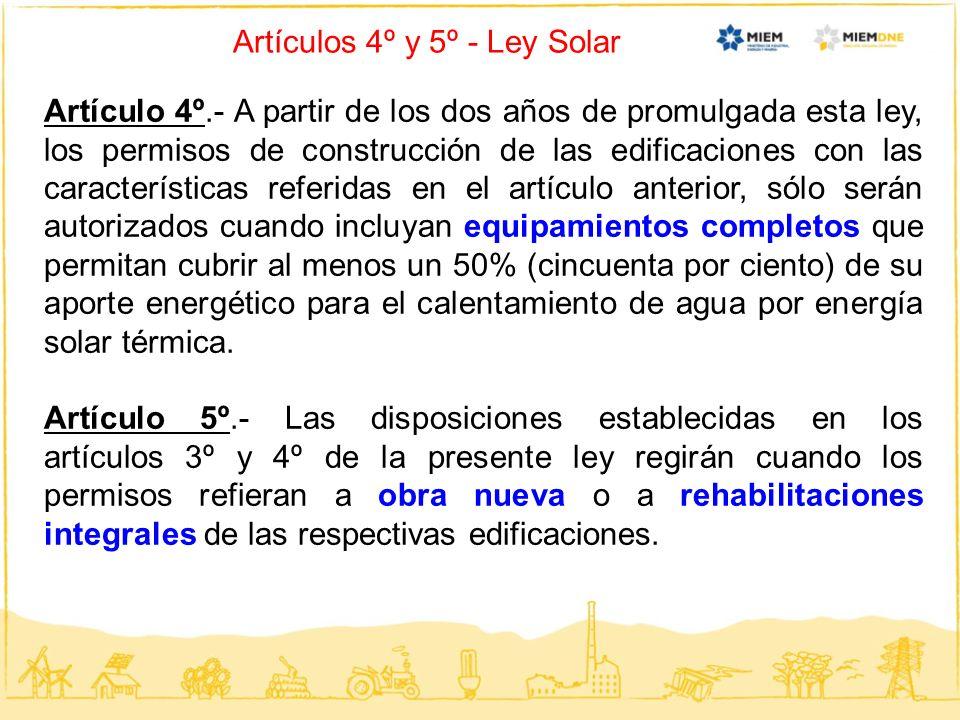 Artículos 4º y 5º - Ley Solar