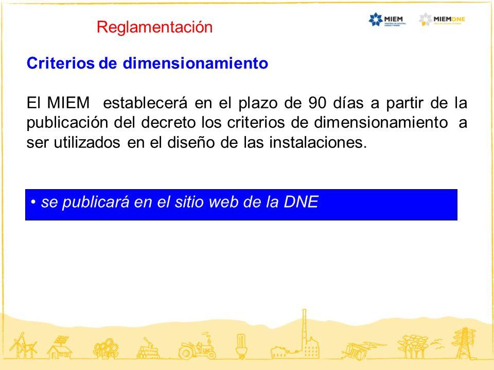Reglamentación Criterios de dimensionamiento.